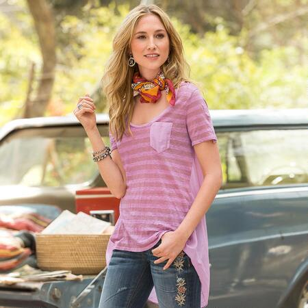 A handmade striped linen tee shirt that attracts attention with its unique design.