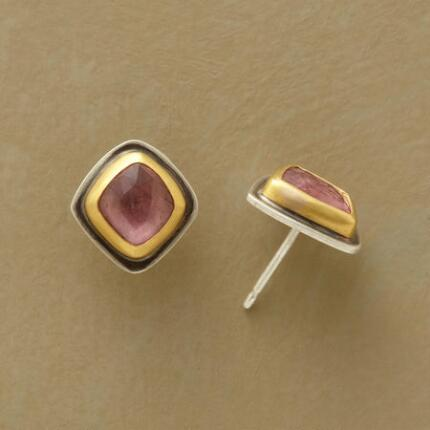 These Ananda Khalsa tourmaline stud earrings simply glow with rosy color.
