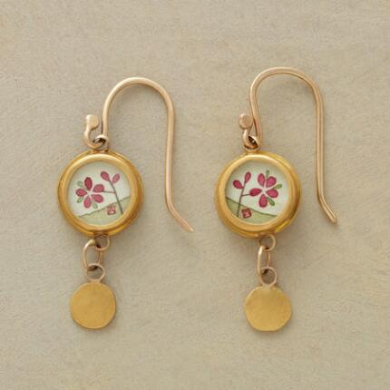 These Ananda Khalsa plum flower earrings capture the promising spirit of springtime.