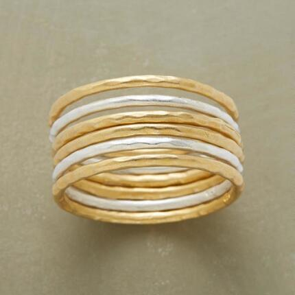 Alternating hot and cool but always bright, you'll love this silver & gold vermeil six-ring set.