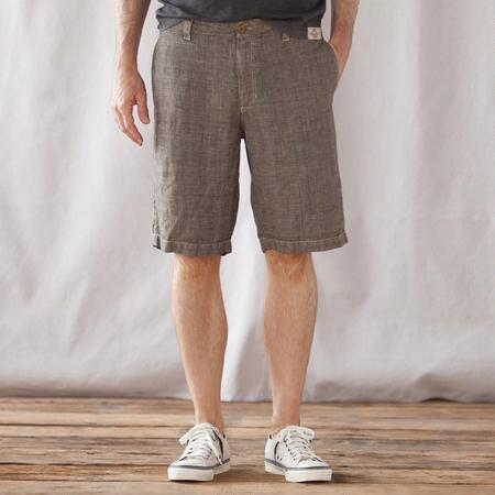 VINTAGE PLAID LINEN SHORTS
