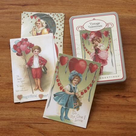 VINTAGE VALENTINE POSTCARDS, SET OF 12