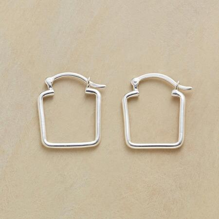 This pair of silver square hoop earrings updates a classic profile with a little edge.