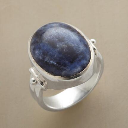 Add an element of sumptuous intensity to your ensemble with this blue lapis cabochon ring.