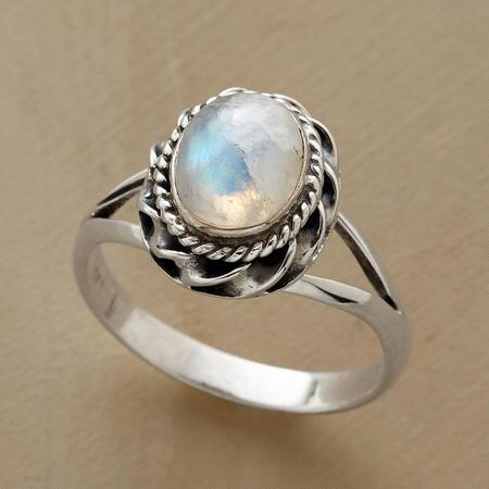 An otherworldly roped bezel moonstone ring that utterly enchants.