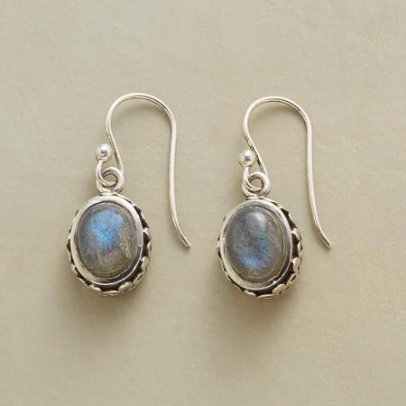 Subtle scintillation is the hallmark of our handmade square labradorite cabochon earrings.