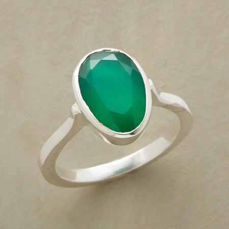 This vibrantly green onyx sterling ring will brighten your ensemble and your outlook.