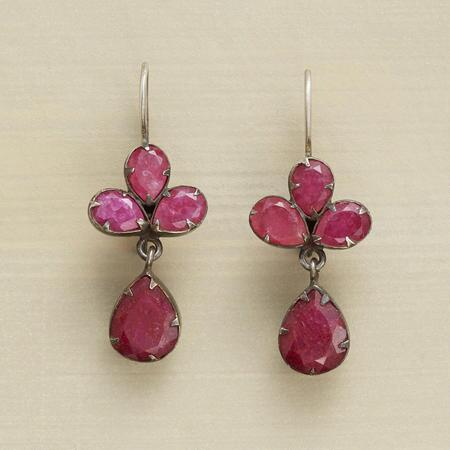 RED JADE TREFOIL EARRINGS