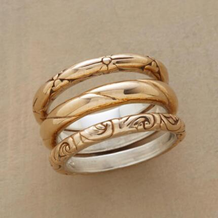 Warm and classic, this bronze band ring trio has the makings of an everyday favorite.