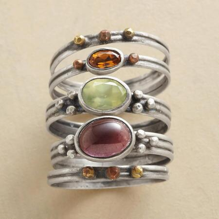 GALACTIC GEMSTONE STACK RINGS S/5