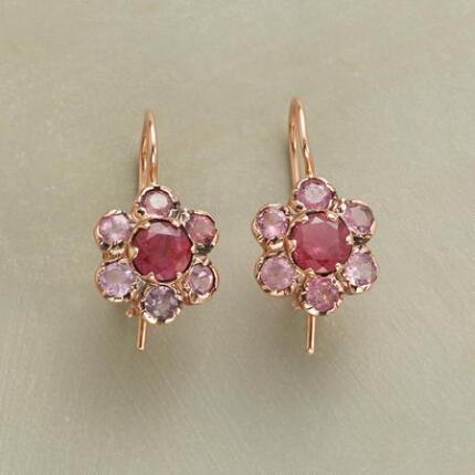These unique pink tourmaline earrings simply blush with lustrous elegance.