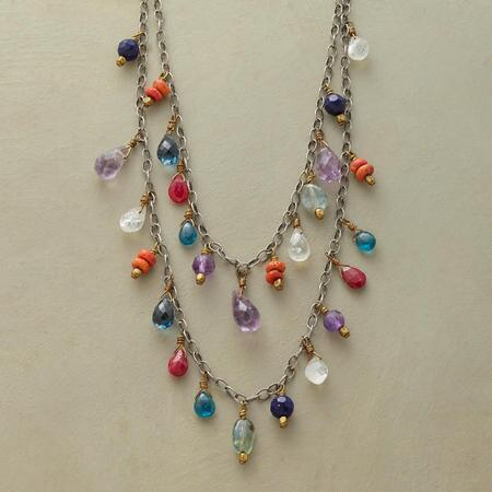 This Blue Jeans Girl Necklace convenes a colorful cast of gems on two tiers of sterling chain.