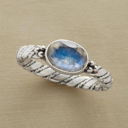 Brighten up your world with this inner light moonstone ring's luminous presence.