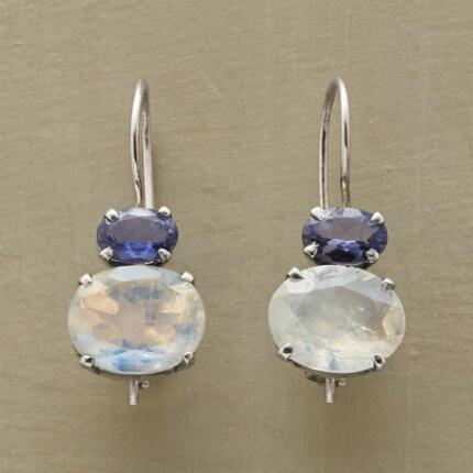 Glittering sweetly, these rainbow moonstone and iolite earrings make a graceful touch in any ensemble.