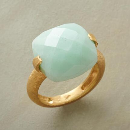 A unique checkerboard-cut chrysoprase ring with an eye-catching design.