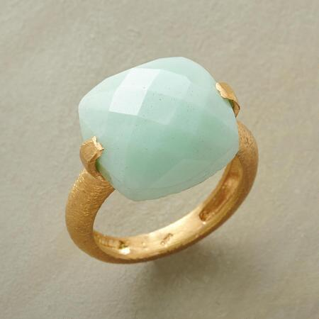 A unique checkerboard cut chrysoprase ring with an eye-catching design.