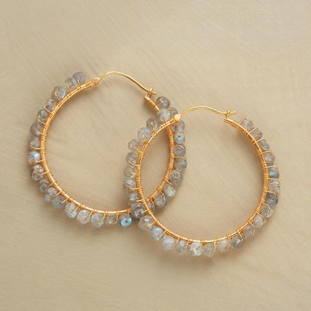 WRAPPED LABRADORITE HOOPS