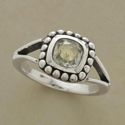 The cool color of this green amethyst woodlands ring gives the piece an understated elegance.