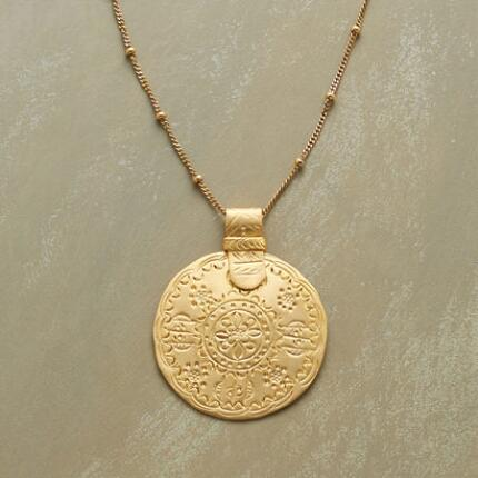 Luminous as the sun itself, this vermeil medallion necklace makes a brilliant accent in any ensemble.