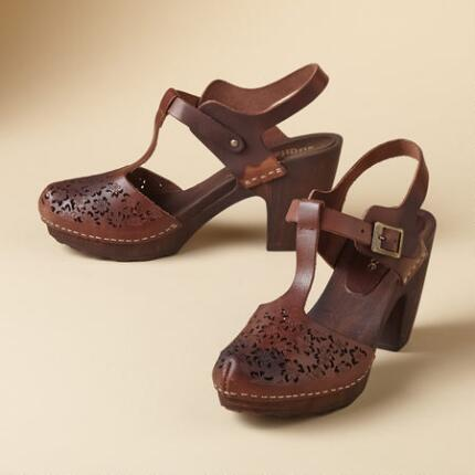 LACE CUT T-STRAP CLOGS