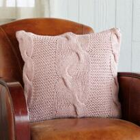 KNIT & PEARL PINK CABLES PILLOW