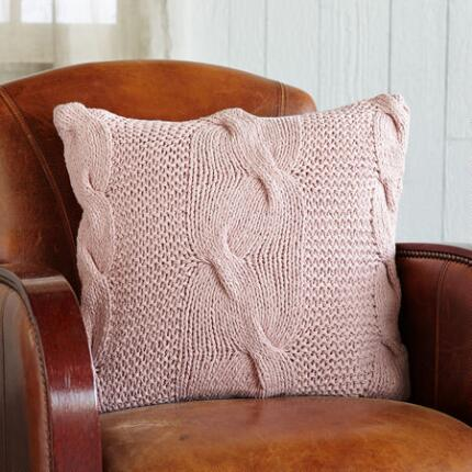 20IN PINK CABLEKNIT PILLOW (FG)