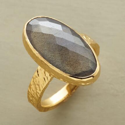 With a hint of the exotic, this harlequin-faceted labradorite ring is an otherworldly beauty.