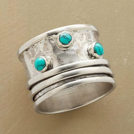 With striking elements of movement and color, this turquoise spinner ring is one of a kind.