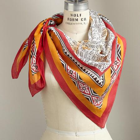 Our handprinted cotton bandana scarves make a lovely touch in any ensemble.
