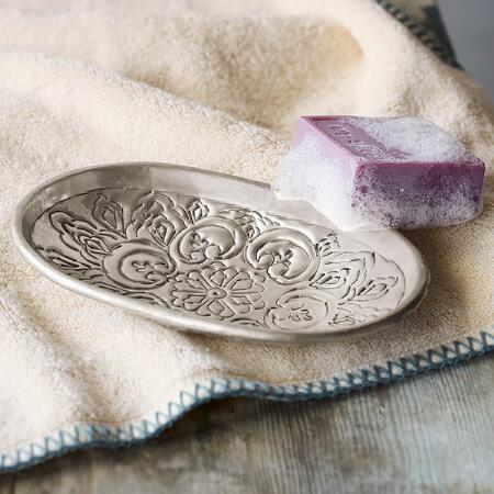 LOTUS ETCHED SOAP DISH
