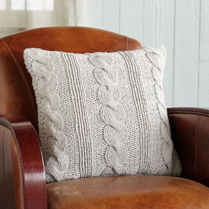 KNIT & PEARL TAUPE NEEDLEWORK PILLOW