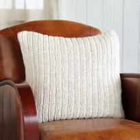 KNIT & PEARL CREAM RIBBED PILLOW