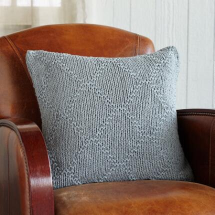 KNIT & PEARL GRAY LATTICE PILLOW