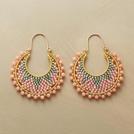 These Miguel Ases coral starburst earrings have an elaborate hoop design that is simply gorgeous.