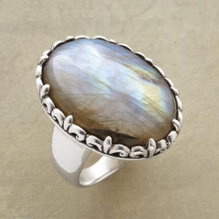 A bewitching bauble, this oval labradorite sorceress ring will have you in its thrall.