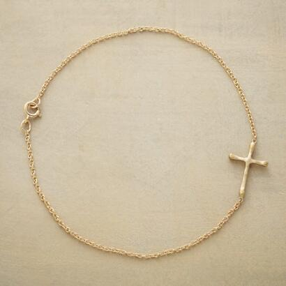 GOLD LINKED CROSS BRACELET