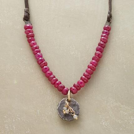 RUBY & RAW DIAMOND NECKLACE