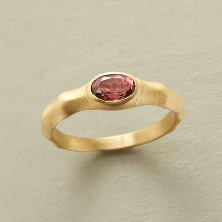 Uniquely chic, this pink tourmaline handcrafted gold ring is one of a kind.