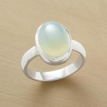 A pure chalcedony ring so luminously sweet, you'll never want to take it off.