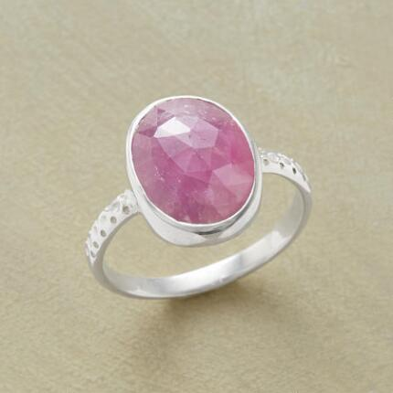 Aflush with sweet color, this handcrafted pink sapphire ring makes a lovely impression.
