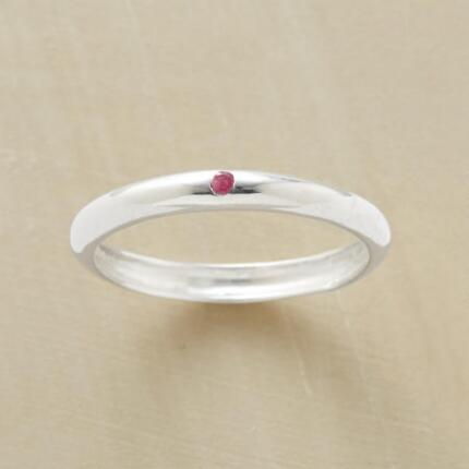 A classic band with a rosy touch, this one and only ruby ring is a timeless piece.