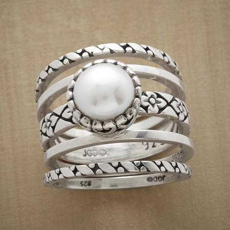 A pearl & silver five-ring set that you might find yourself wearing every single day.