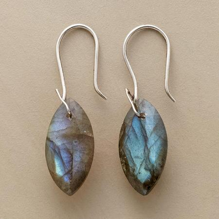 Our exclusive labradorite drop earrings mesmerize with their mercurial hues.