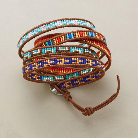 Ornate and vibrant, this unique Chan Luu wrap bracelet makes a vividly stunning accent.