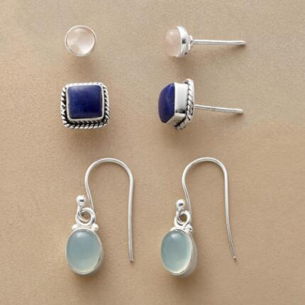 Our exclusive gemstone and silver earrings set affords a pair for every occasion and look.