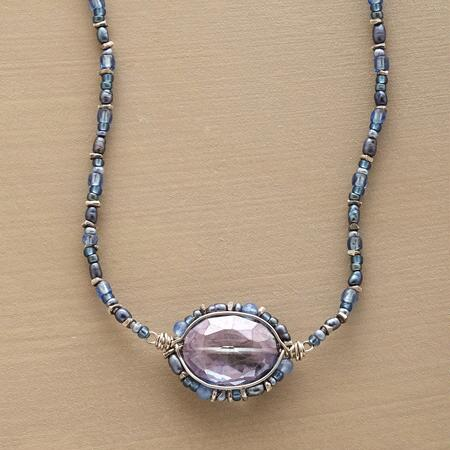 A lovely blue quartz necklace that simply shines with cool grace.