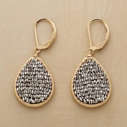 This pair of Dana Kellin leverback teardrop earrings contrasts materials that shimmer hot and cold.