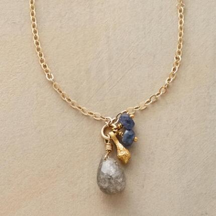 A vermeil labradorite drop necklace that delivers a touch of cool elegance.