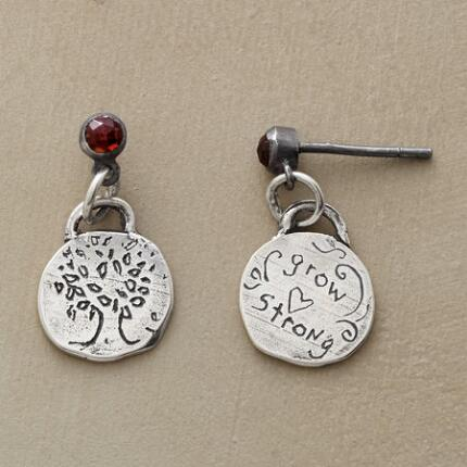 These Jes MaHarry garnet and tree earrings bring together lovely design and heartwarming sentiment.
