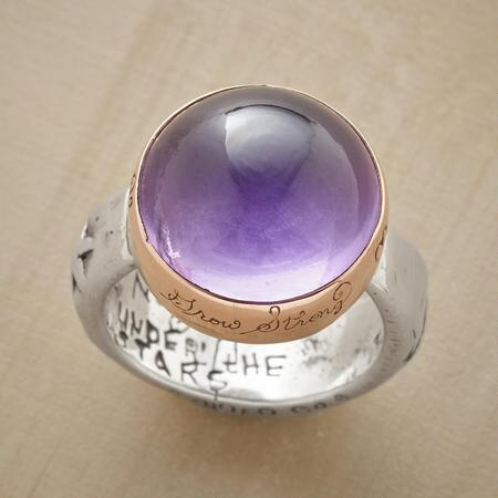 This Jes MaHarry heart & amethyst ring will win you with its glowing charm.